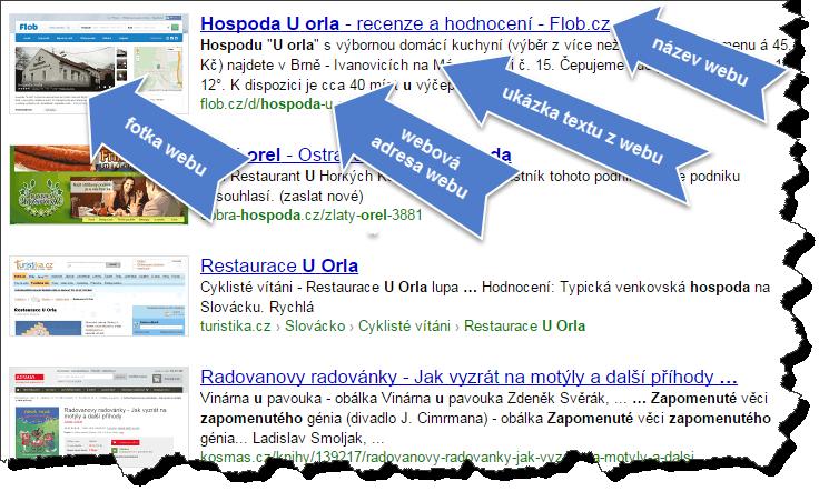 Ukázka výsledků vyhledávaní Seznam.cz s popisky