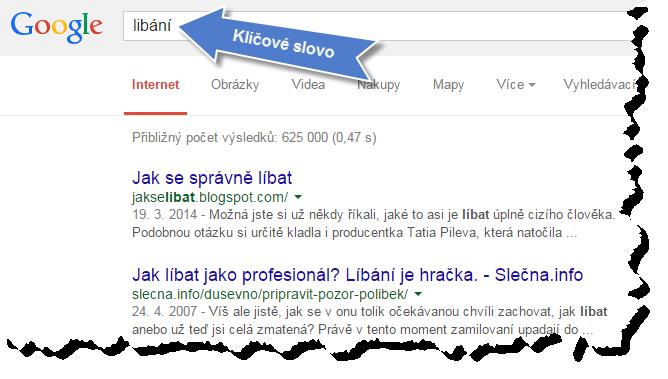 """Klíčové slovo """"líbání"""" vyhledáno na Googlu"""
