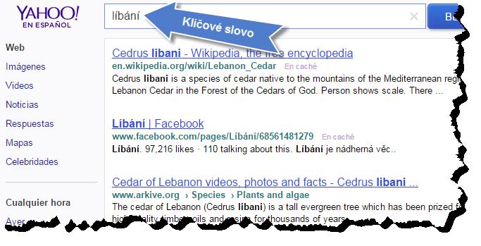 """Klíčové slovo """"líbání"""" vyhledáno na Yahoo"""